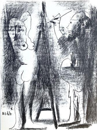 Litografia Picasso - Le Peintre et son modele