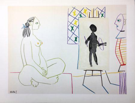 Litografia Picasso - Le peintre masqué et son modèle (La Comédie Humaine - Verve 29-30. Vallauris1954).