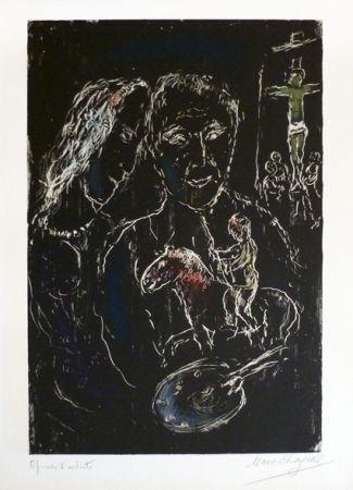 Litografia Chagall - Le peintre sur fond noir