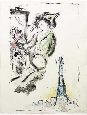 Litografia Chagall - Le peintre sur Paris