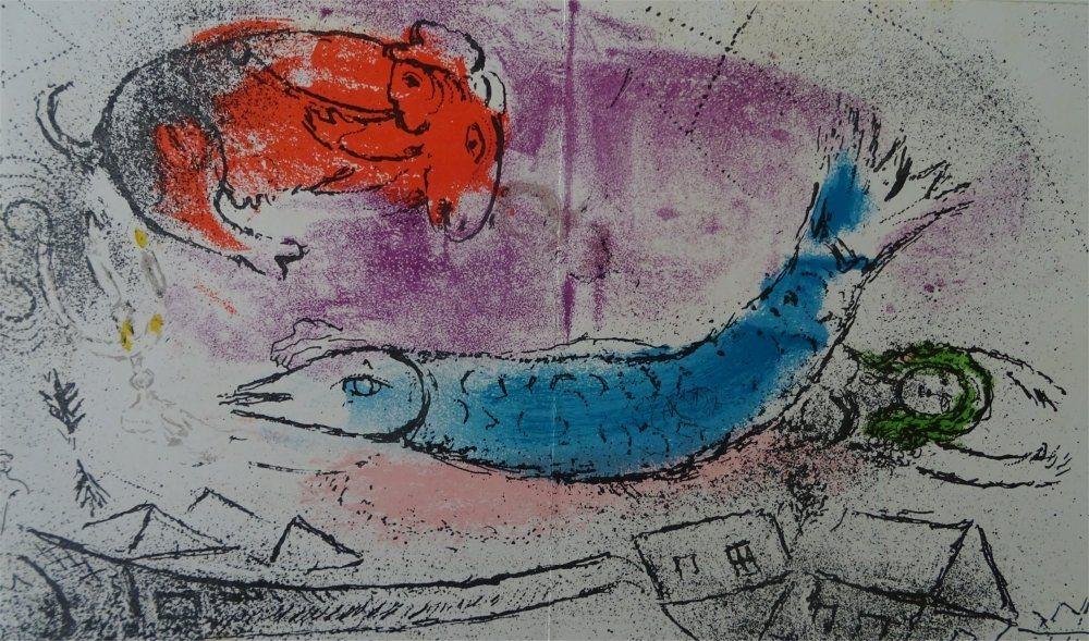 Litografia Chagall - Le Poisson bleu