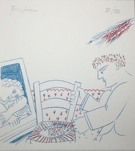 Litografia Fassianos - Le poisson sur la chaise