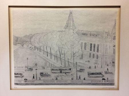 Acquaforte Marquet - Le Pont Saint-Michel, Paris. 1929. Signé et numéroté