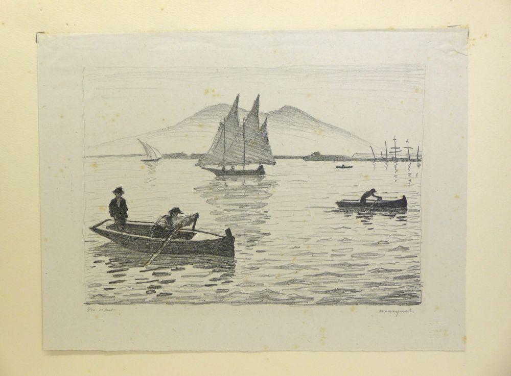 Litografia Marquet - Le Port de Naples, 1926. Signé et numérotée.