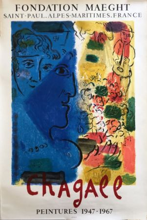 Manifesti Chagall - LE PROFIL BLEU. Affiche d'exposition. Lithographie originale. 1967.