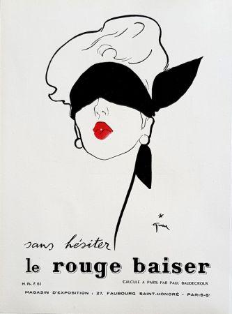 Litografia Gruau - Le Rouge  Baiser  Permet le Baiser