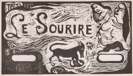 Incisione Su Legno Gauguin - Le Sourire