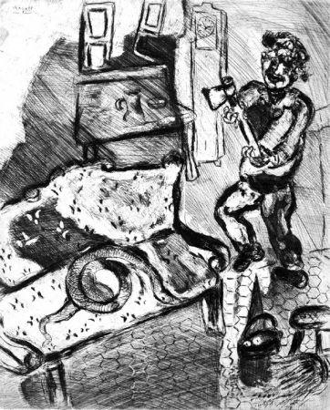 Acquaforte Chagall - Le Villageois et le serpent
