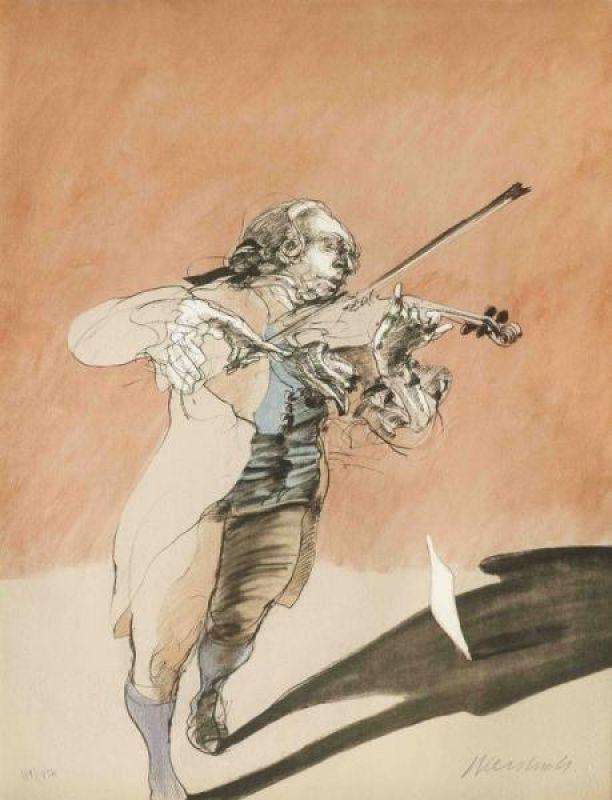 Litografia Weisbuch - Le violoniste