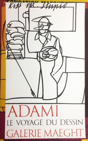 Litografia Adami - LE VOYAGE DU DESSIN. Adami 1975 (affiche originale).