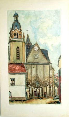 Acquatinta Utrillo - L'Eglise de Limours