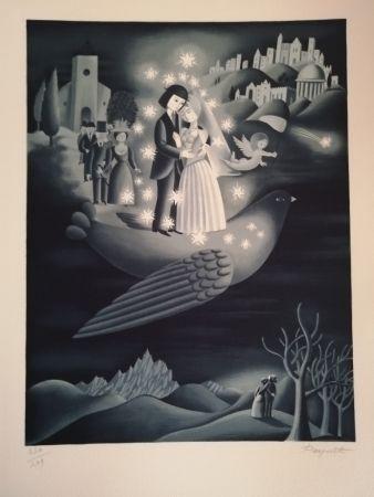 Litografia Peynet - Les étoiles