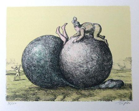 Litografia Topor - Les boules