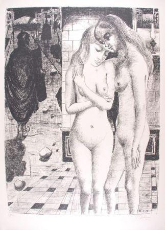 Litografia Delvaux - Les Captives