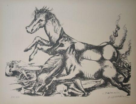 Litografia Zadkine - Les cavales de Diomède