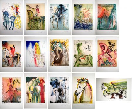 Acquaforte E Acquatinta Dali - LES CHEVAUX DALINIENS : 25 lithographies en couleurs signées au crayon (1972/1980)