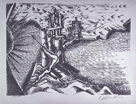 Litografia Zadkine - Les Colonnes d'Hercule
