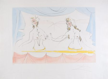Acquaforte Dali - Les Dames de la Renaissance - Ladies of the Renaissance (suite Mythologique Nouvelle/New Mythological)