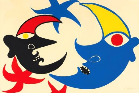 Litografia Calder - Les deux lunes