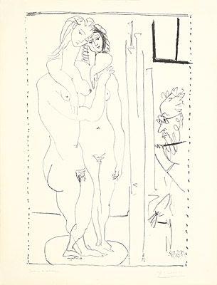Litografia Picasso - Les deux modèles nus