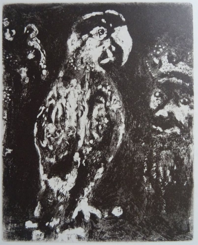 Acquaforte Chagall - Les deux Perroquets, le Roi et son fils