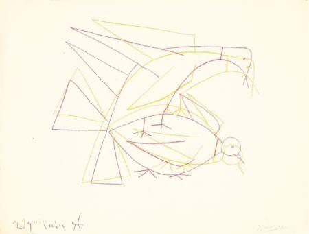 Litografia Picasso - Les deux tourterelles doubles