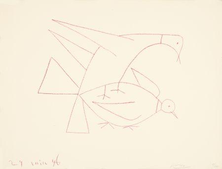Litografia Picasso - Les deux tourterelles, I