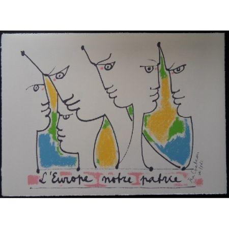Litografia Cocteau - Les fondateurs de l'Europe