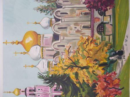 Litografia Brayer - Les jardins du Kremlin