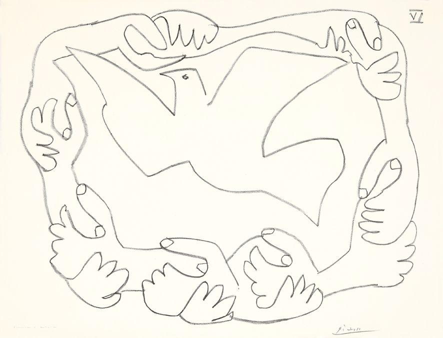 Litografia Picasso - Les mains liées IV