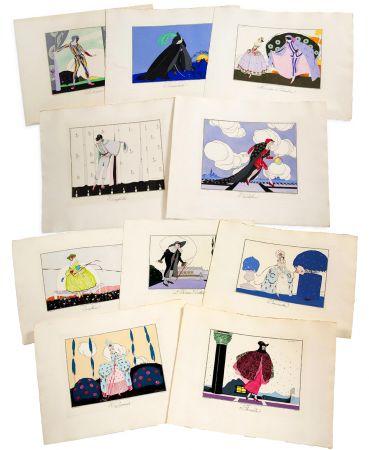 Libro Illustrato Brunelleschi - LES MASQUES ET LES PERSONNAGES DE LA COMÉDIE ITALIENNE, expliqués par Gérard d'Houville, et interprétés par Brunelleschi, en douze estampes coloriées (1914)