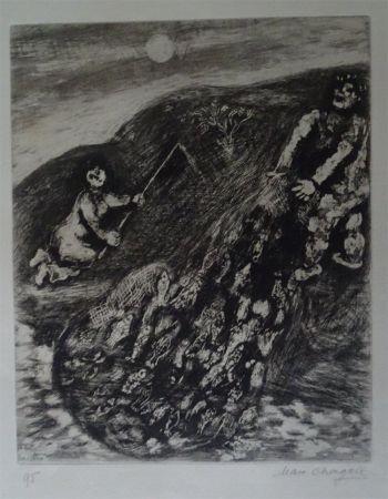 Acquaforte Chagall - Les possions et le Berger qui joue de la Flute
