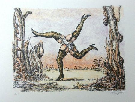 Litografia Topor - Les quatre jambes