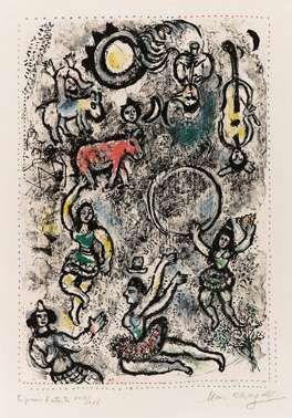 Litografia Chagall - Les saltimbanques