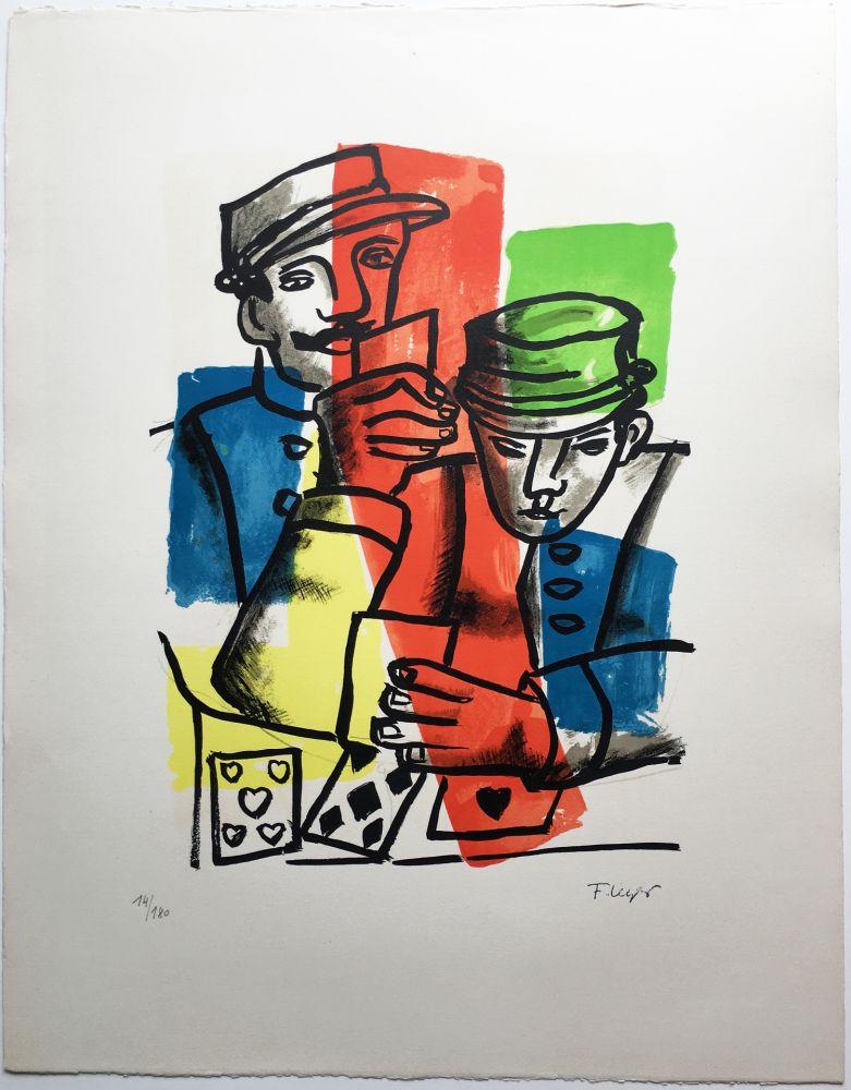 Litografia Leger - LES SOLDATS ou LES JOUEURS DE CARTES (La Ville, 1959).