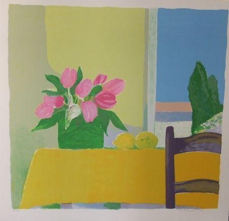 Litografia Muhl - Les tulipes jaunes.