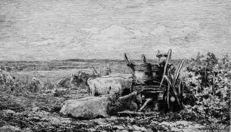Acquaforte Daubigny - Les vendanges. (Souvenir du Morvan)