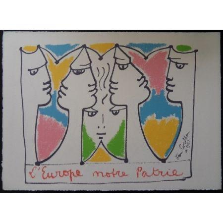 Litografia Cocteau - L'Europe pont des civilisations