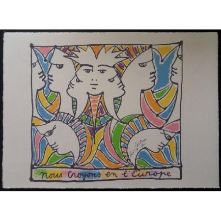 Litografia Cocteau - L'Europe tournée vers le monde