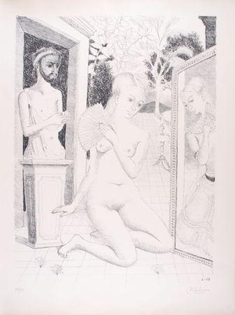 Litografia Delvaux - L'Eventail