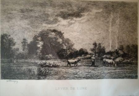 Acquaforte Daubigny - Lever de lune