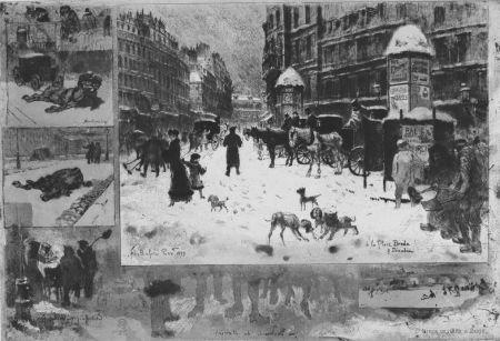 Acquaforte Buhot - L'hiver e 1879 à Paris