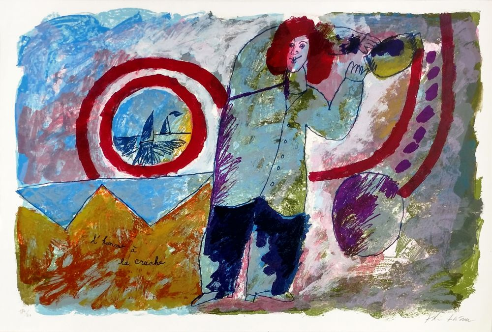 Litografia Tobiasse - L'HOMME A LA CRUCHE
