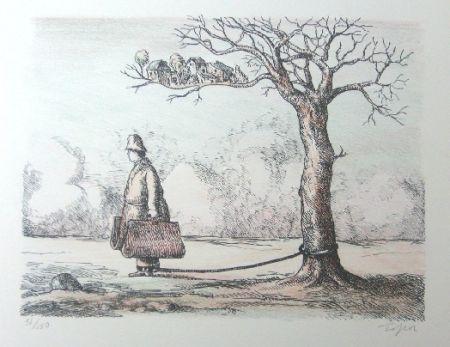 Litografia Topor - L'homme aux valises