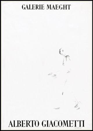 Litografia Giacometti - L'HOMME QUI MARCHE (1957). Affiche lithographique pour une exposirion à la Galerie Maeght.