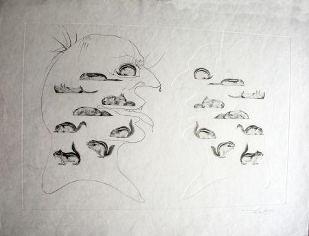 Acquaforte Dali - L'Homme ressuscité par l'holographie de l'écureuil