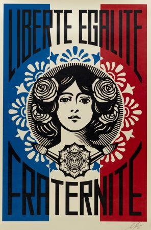 Litografia Fairey - Liberté, Egalité, Fraternité