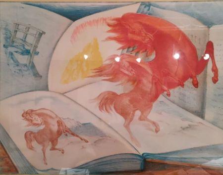 Litografia Sassu - Libri e cavalli