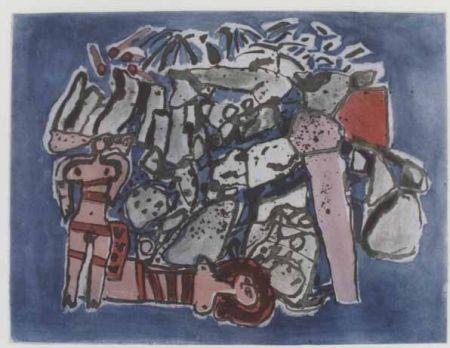 Acquatinta Corneille - Lieu rupestre