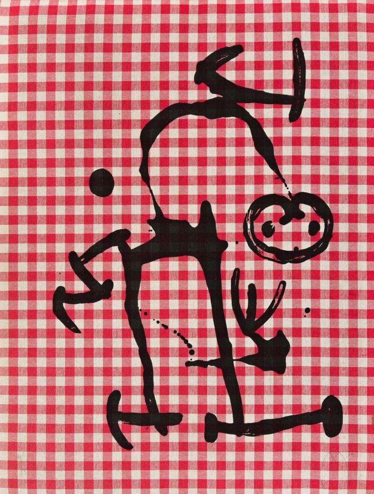 Litografia Miró - L'Illetre aux Carreaux Rouges